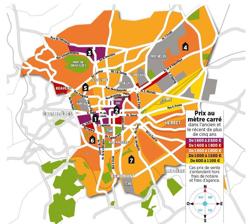 Les prix de l'immobilier à Clermont-Ferrand