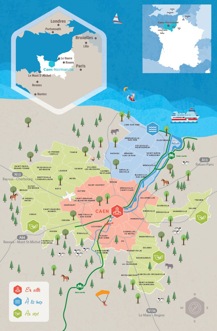 carte caen normandie